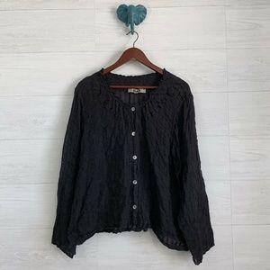 Flax Black 100% Linen Button Down Stripe Blouse